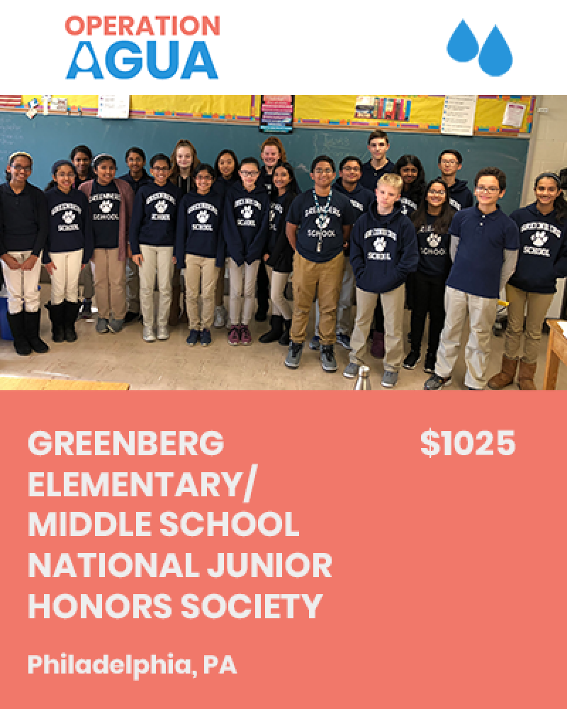H20 Heroes - Greenberg Elementary/Middle School National Junior Honors Society