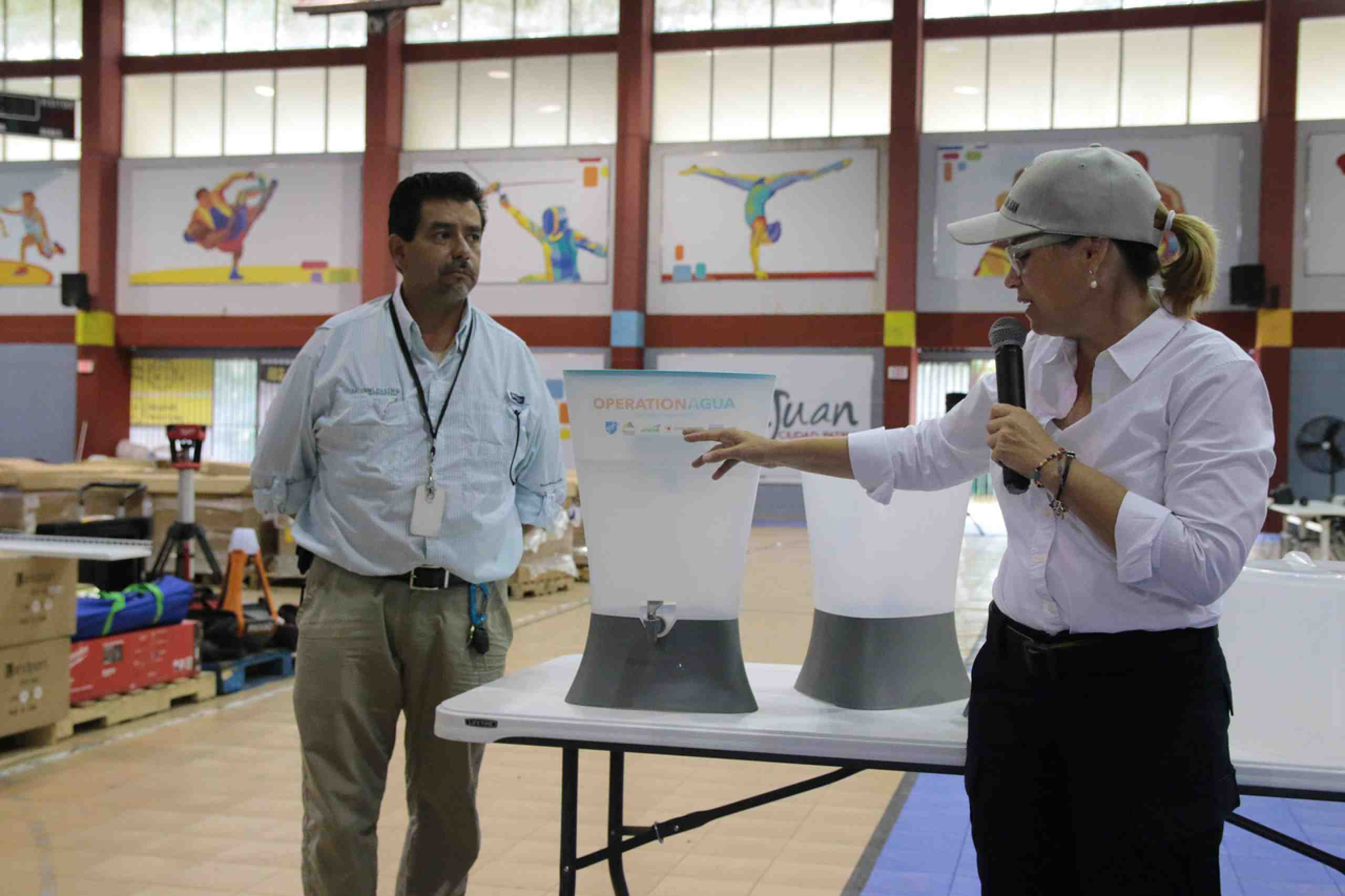 Mayor of San Juan, Carmen Yulín Cruz, with water filters