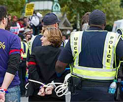 Randi Weingarted arrested at rally
