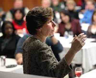Randi Weingarten at Rutgers. Photo by Bruce Gilbert.
