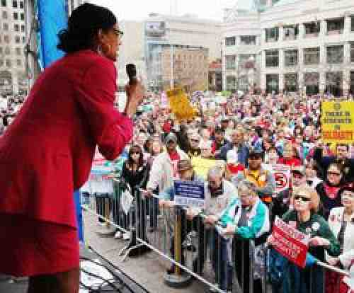2010 Ohio Teacher of the Year, Natalie Wester, at Columbus Rally, OH. Photo by Alysia Burton.