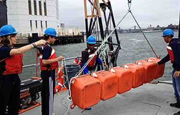 New York Harbor School students practice the latest cargo loading techniques