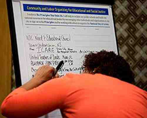 Participant signs petition