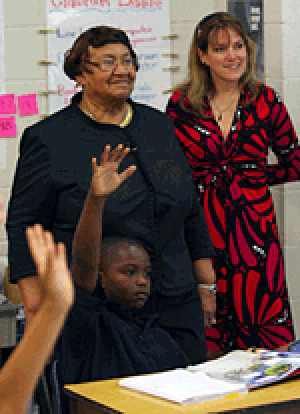 Lorretta Johnson visits a school in Hillsborough County