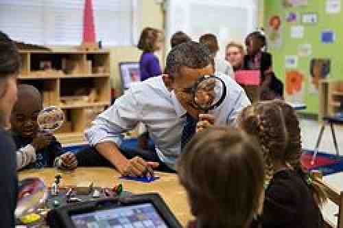 President Obama with pre-K children