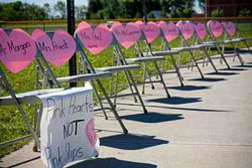 Pink hearts on chairs