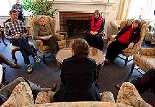 Randi Weingarten meeting with AFMSU. Photo by Jason Savage.