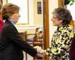 Randi Weingarten with MSU president. Photo by Jason Savage.