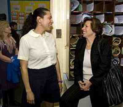 Randi Weingarten at school in Newark