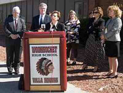 Randi Weingarten at Woonsocket High School. Photo by Constance Brown.