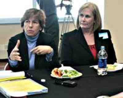 President Weingarten speaks at an informal luncheon meeting, Marlboro Intermediate School.