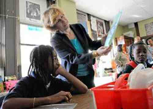 AFT president Randi Weingarten at a school in Philadelphia, Pa. Photo: Laurie Beck.