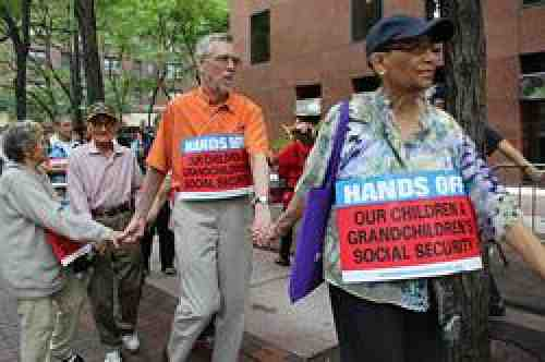 Retirees protesting Social Security changes