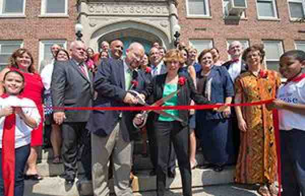 Ribbon cutting at Oliver School