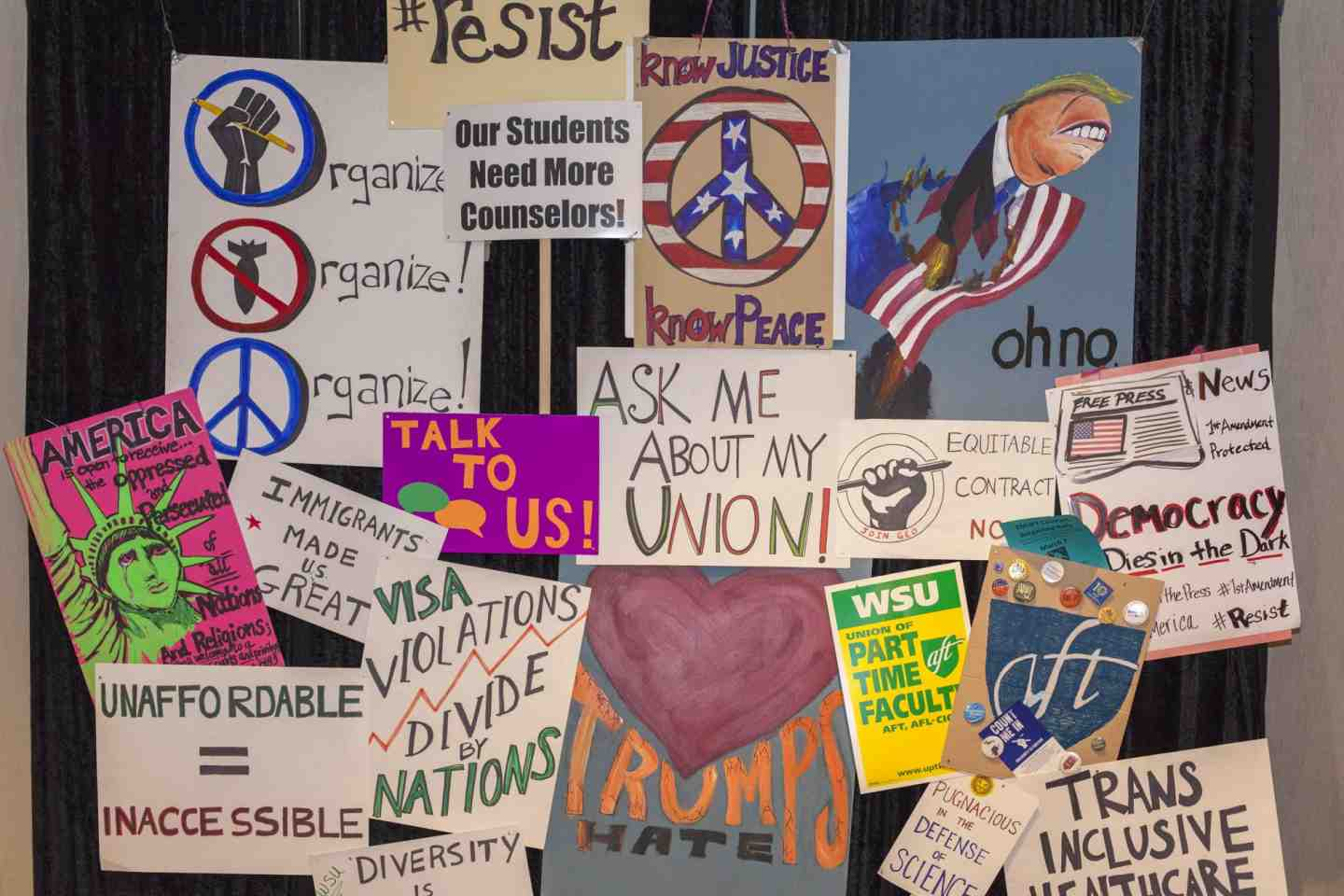 Protest signs on display