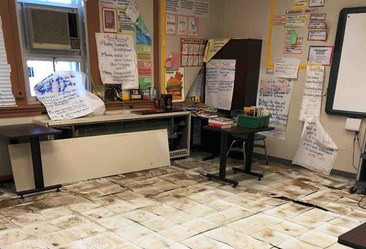 Damaged floor tiles in Baltimore