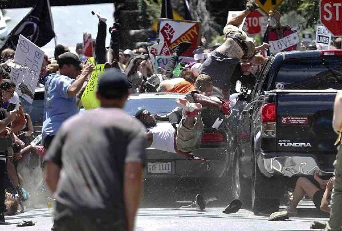 Car crashing into counter-protesters