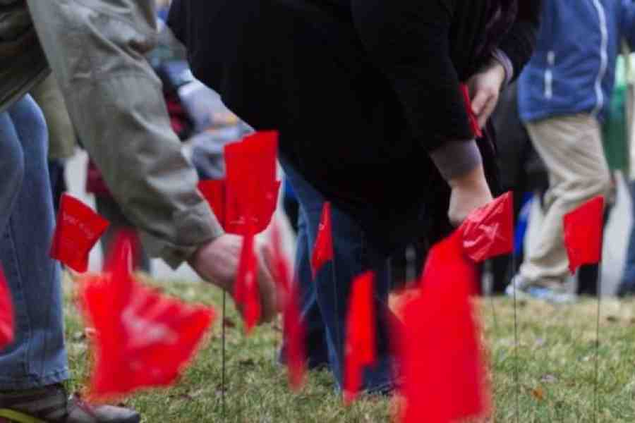 Red flags marking layoffs