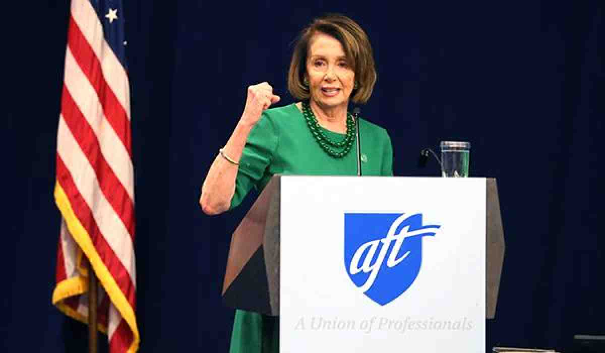 Nancy Pelosi at an AFT event in 2018
