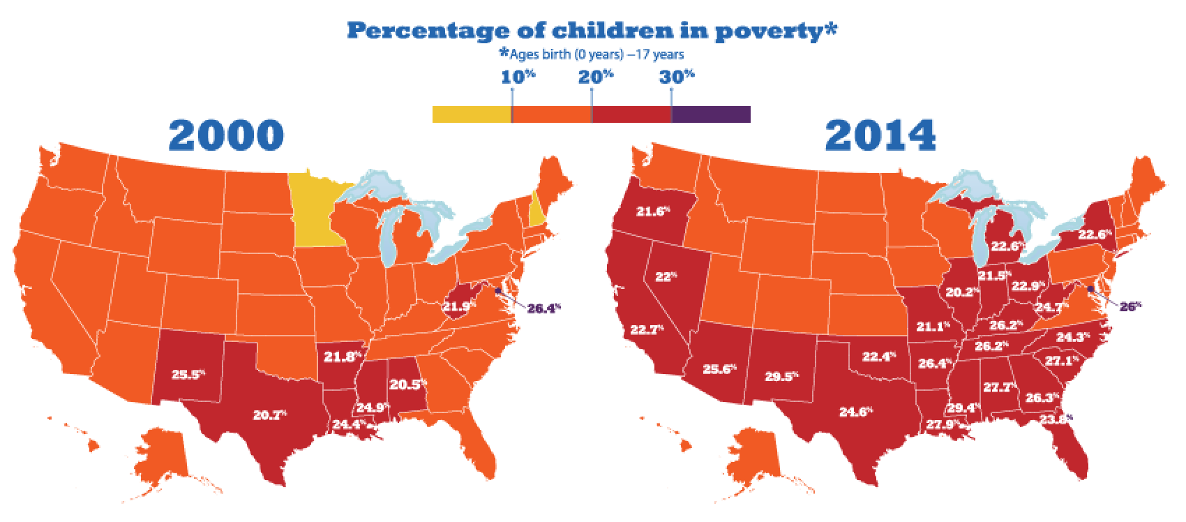 Growth in child poverty mapped by county in the 50 states