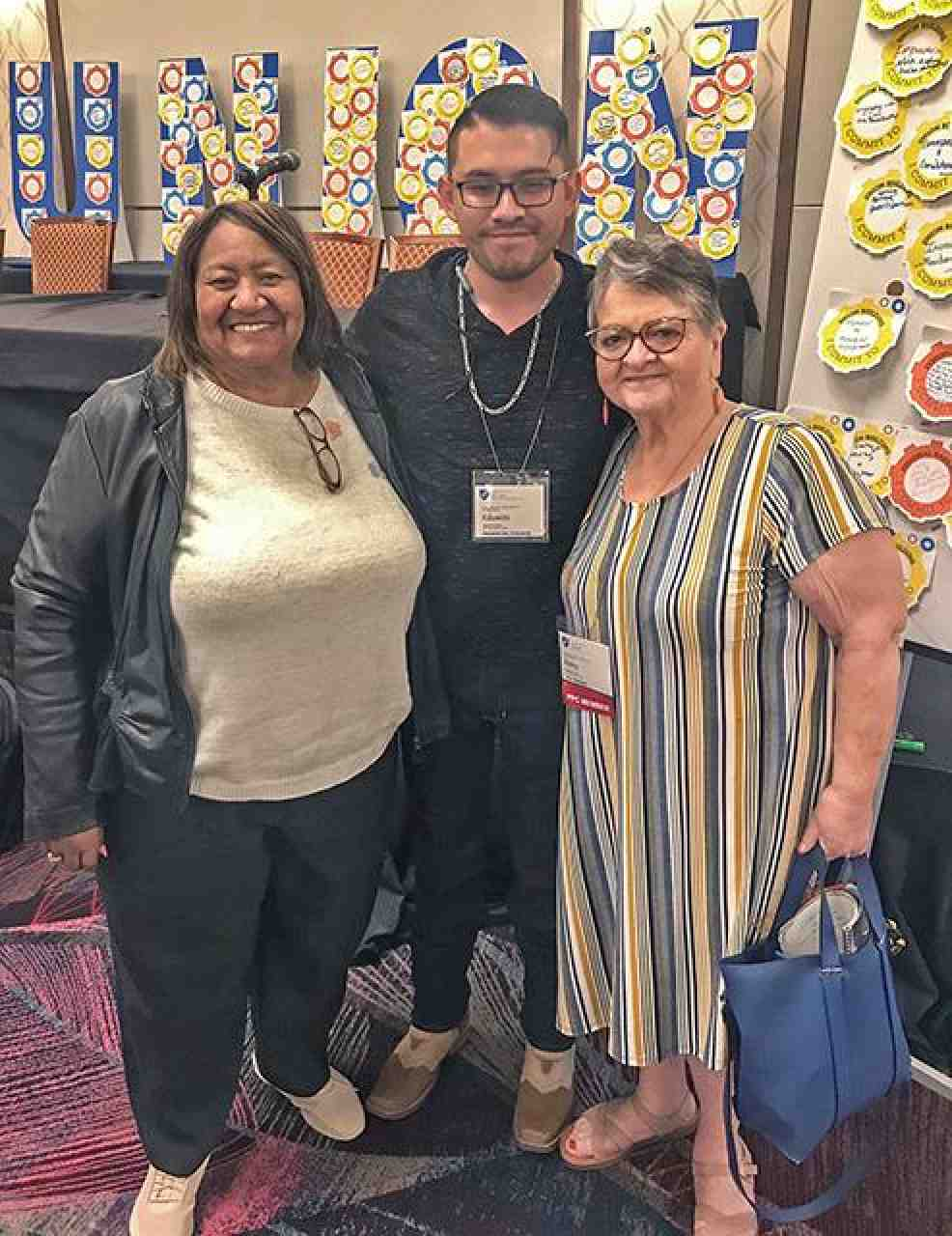 Eddie Quezada with AFT Secretary-Treasurer Lorretta Johnson, left, and AFT Vice President Kathy Chavez of AFT New Mexico.