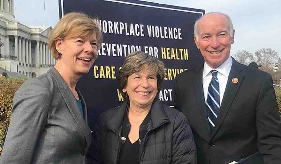 Randi Weingarten with senators on Capitol Hill