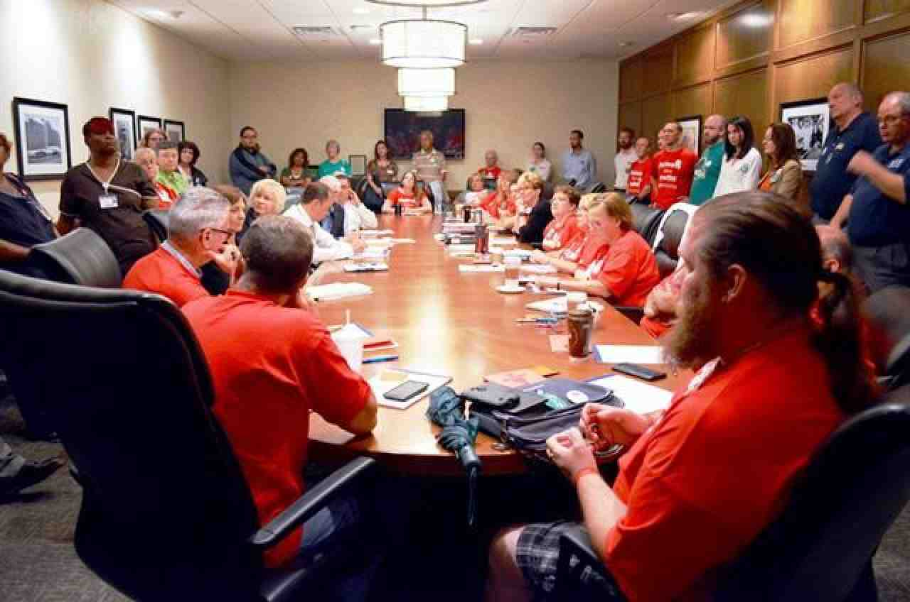St. Francis Hospital members at the bargaining table
