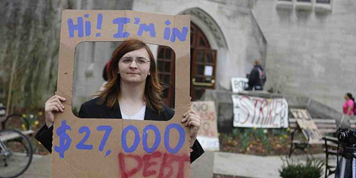 woman holding up sign about her student debt