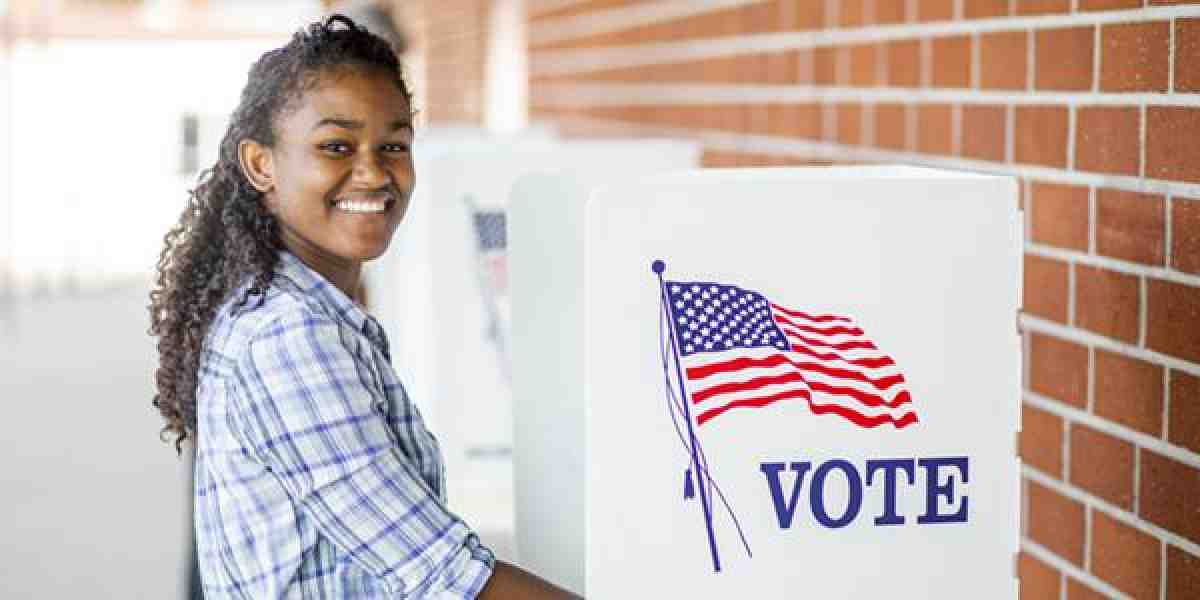 young black woman votes