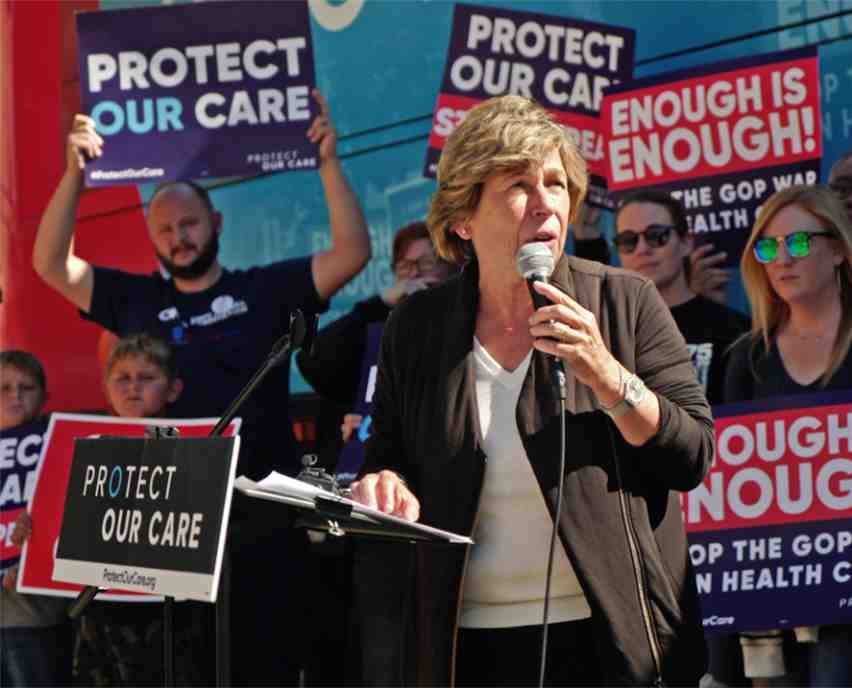 Weingarten at a Protect Our Care rally in Columbus, Ohio