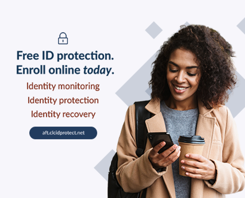 """Woman holds coffee up and looks at phone while smiling and standing next to the words """"free ID protection"""""""