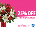 flower ad that promotes 25 percent off for union members