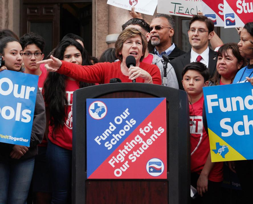 Fund Our Future - Randi Weingarten at podium