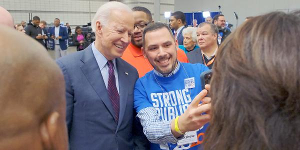 Joe Biden with AFT members