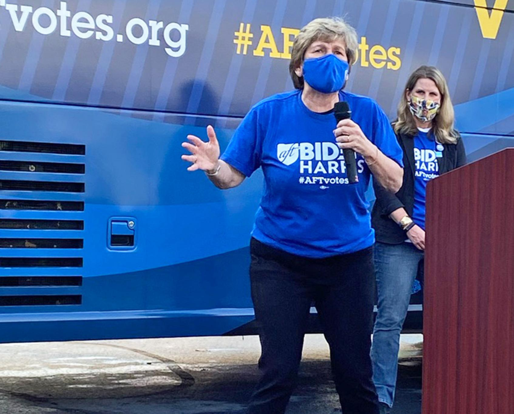 Randi Weingarten on AFT Votes bus