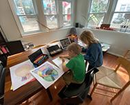 kids studying at table