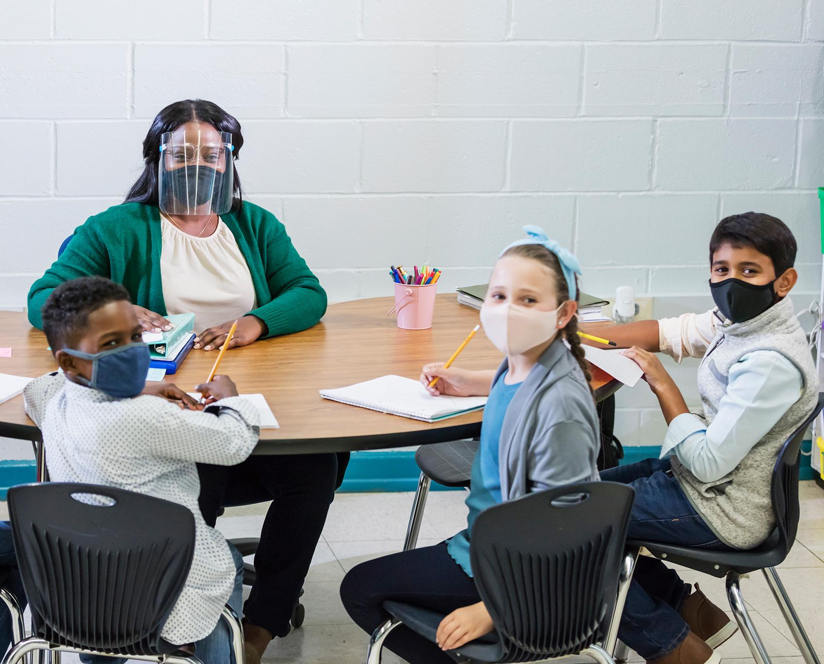 Classroom with masked students