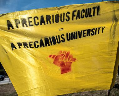 Anne Wiegard, a member of United University Professions at SUNY Courtland, believes all faculty need to come together to fight for better treatment of adjuncts on campus.