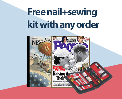 discount magazines come with a free nail and sewing kit