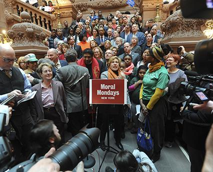 Weingarten speaks at a Moral Monday rally