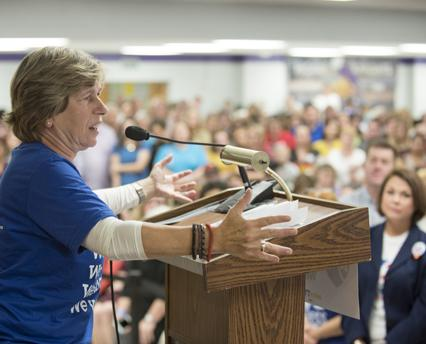 Randi Weingarten addresses a rally for public education