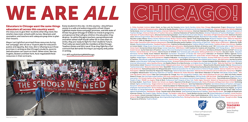 We Are All Chicago print ad with supporting organizations