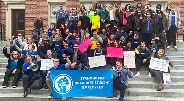 Members of Stand Up for Graduate Student Employees, at Brown University