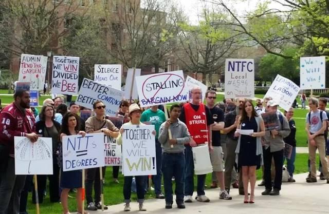 Non-Tenure Faculty Coalition members on strike