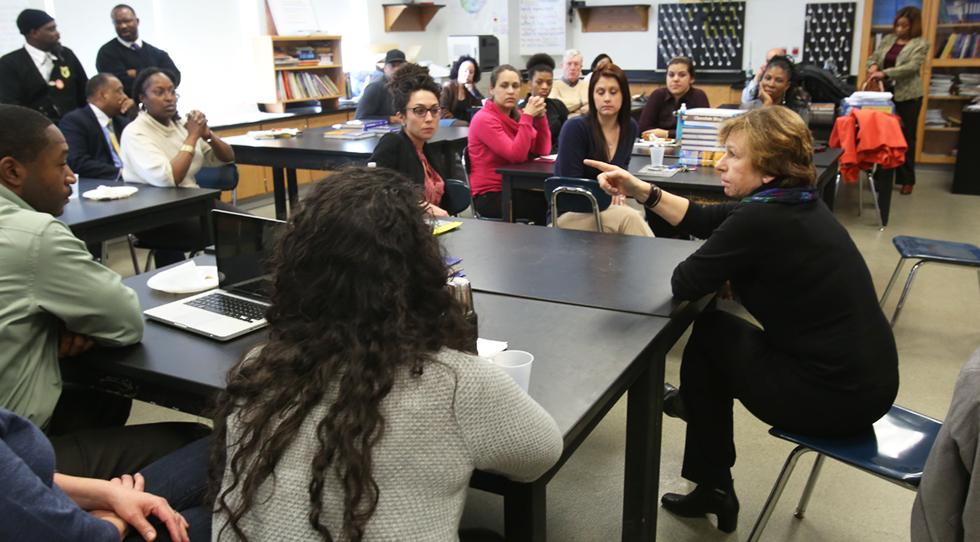 Randi Weingarten with students