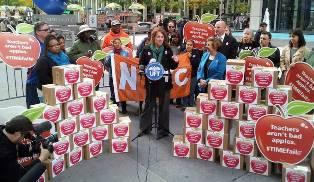 Speakers at petition delivery event in New York