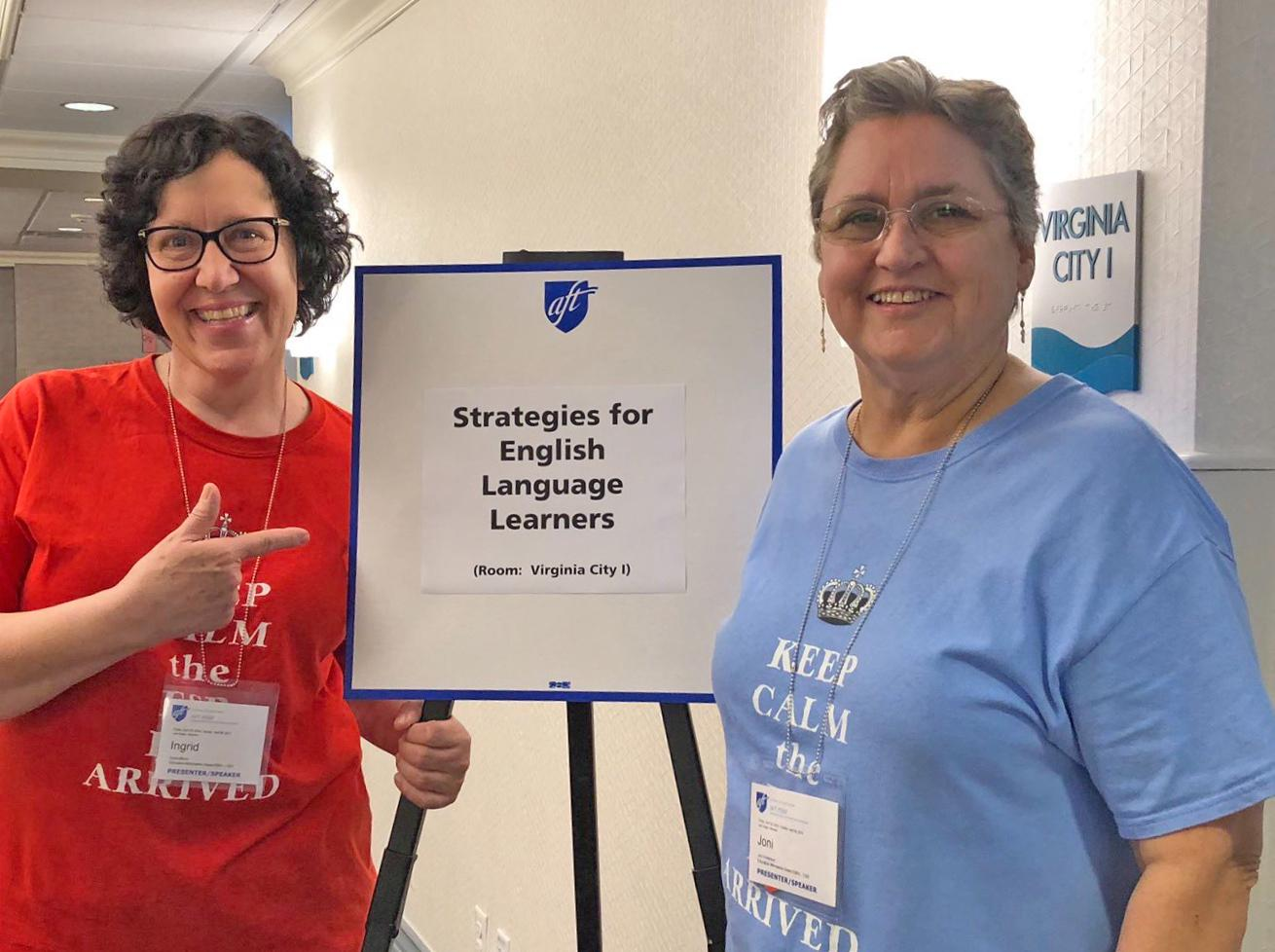 ELL paraprofessionals and AFT trainers Ingrid Miera, left, and Joni Anderson of Education Minnesota-Osseo.
