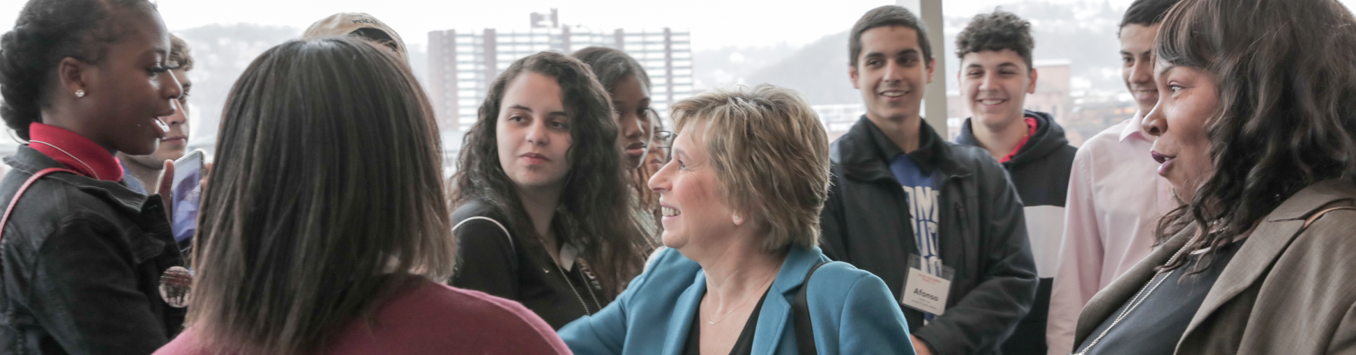 Randi Weingarten with students at Education Forum
