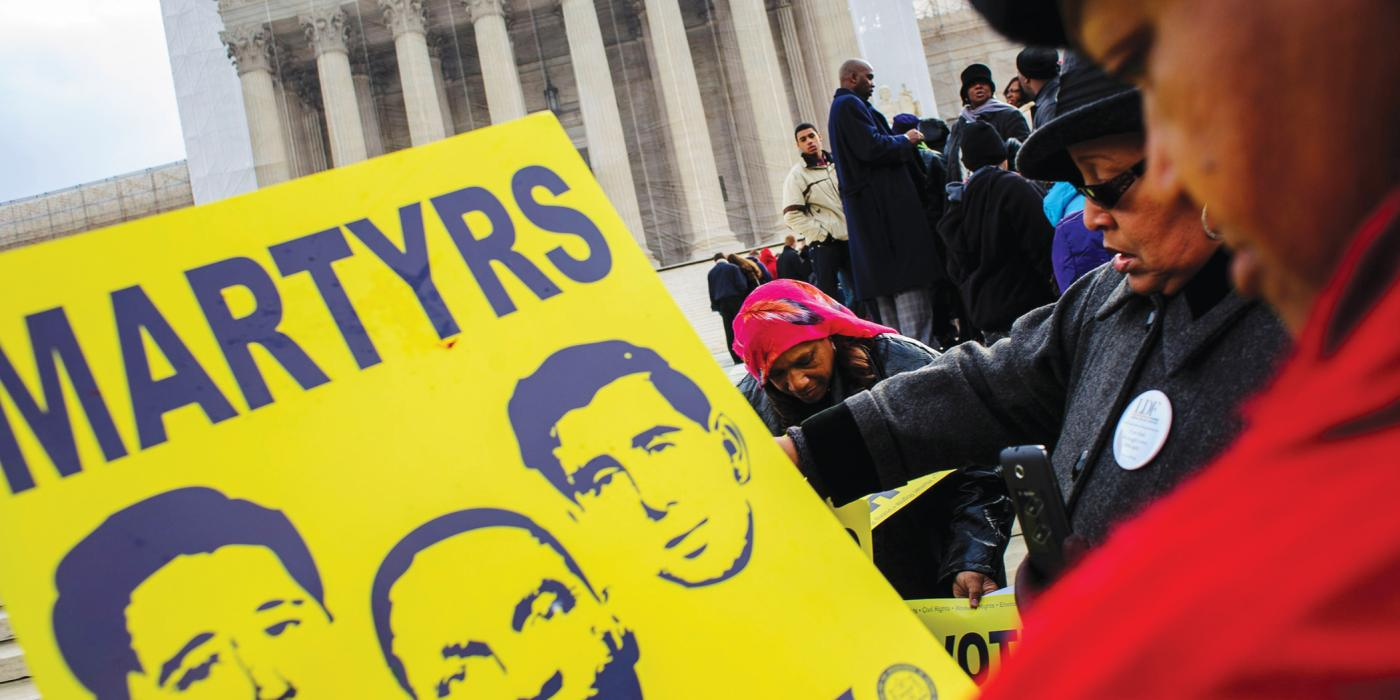 Supporters of the 1964 Voting Rights Act outside the US Supreme Court during Shelby County v. Holder, Feb. 2013, Pete Marovich/ZUMAPRESS.com/Alamy Live News