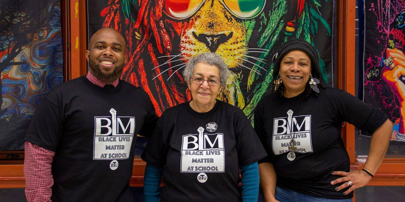 BTU's Joel Richards, left, with colleagues during last year's Black Lives Matter at School week of action